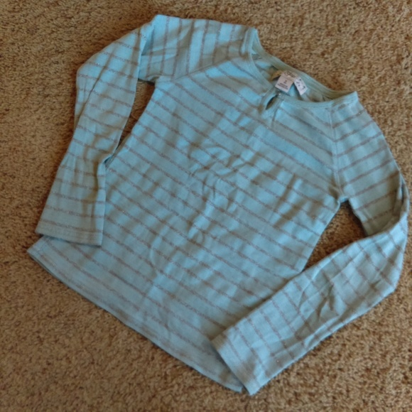 GAP Other - GAP blue shirt with sparkly silver stripes